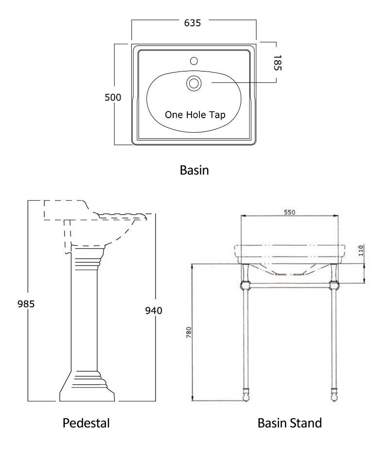 Technical drawings for Products 2861, 2864 and 6305